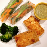 Simple Asian Dinner: Crusted Tofu, Fresh Spring Rolls, Citrus Nut Chutney