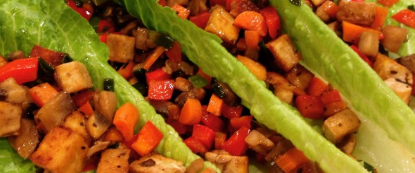 Colorful Asian Lettuce Wraps With Caramelized Tofu