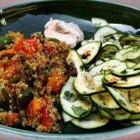 Warm Moroccan Style Quinoa With Raw Zucchini Ribbon Salad