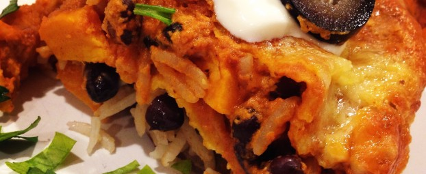 Stacked Roasted Sweet Potato Enchilada Pie