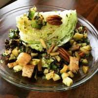 Winter Wedge Salad: Crispy Shredded Brussels & Apple Pecan Panzanella With Maple Vinaigrette